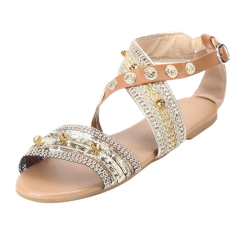 Duseedik Spring Summer Women's Sandals Bohemia CROS Criss Flats Roma Beach Outdoor Shoes Brown