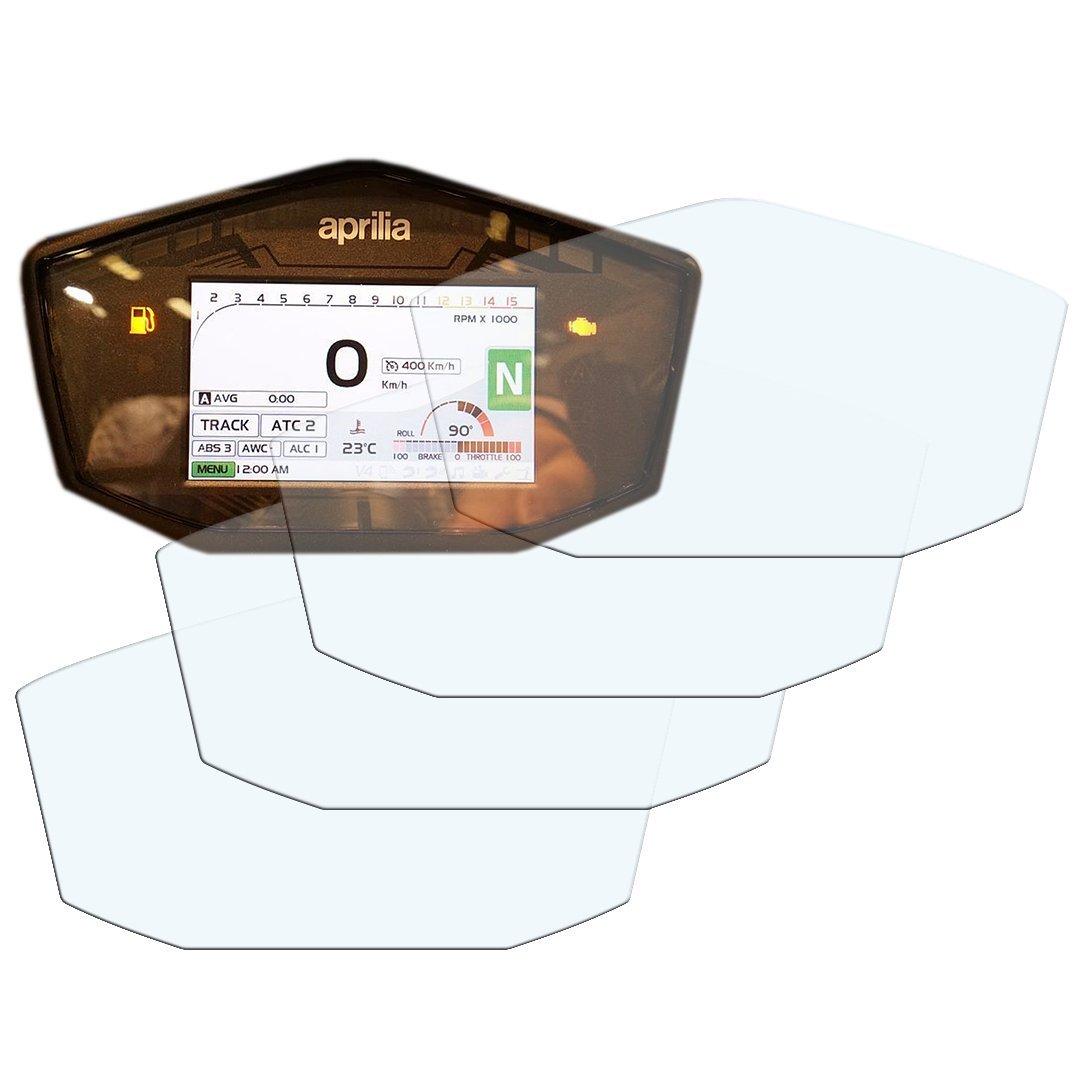 Speedo-Angels 4 x Aprilia RSV4 (chaque modè le 2017>) tableau de bord / groupe d'instruments protecteur d'é cran - 2 x anti-é blouissement & 2 x extrê mement clair SA-APRRSV4-4c