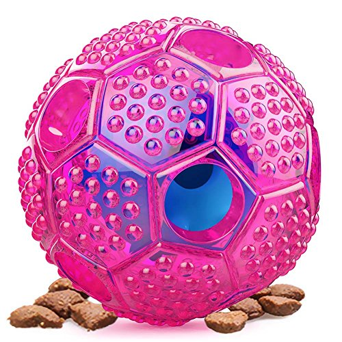 Amuda Pet IQ Interactive Treat Puzzle Food Dispensing Ball, Non Toxic, Bouncy Dog Tooth Cleaning Chewing Training Toys Balls