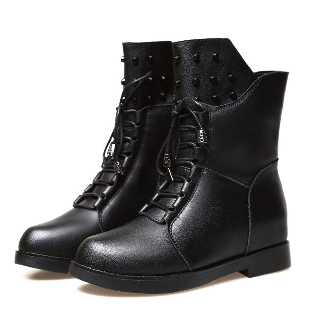 BeatinToes Damen Winter Warm Anti Slip Naturleder Martin Stiefel Reine Farbe Casual Schuhe Stiefel Heel Kurzschluss