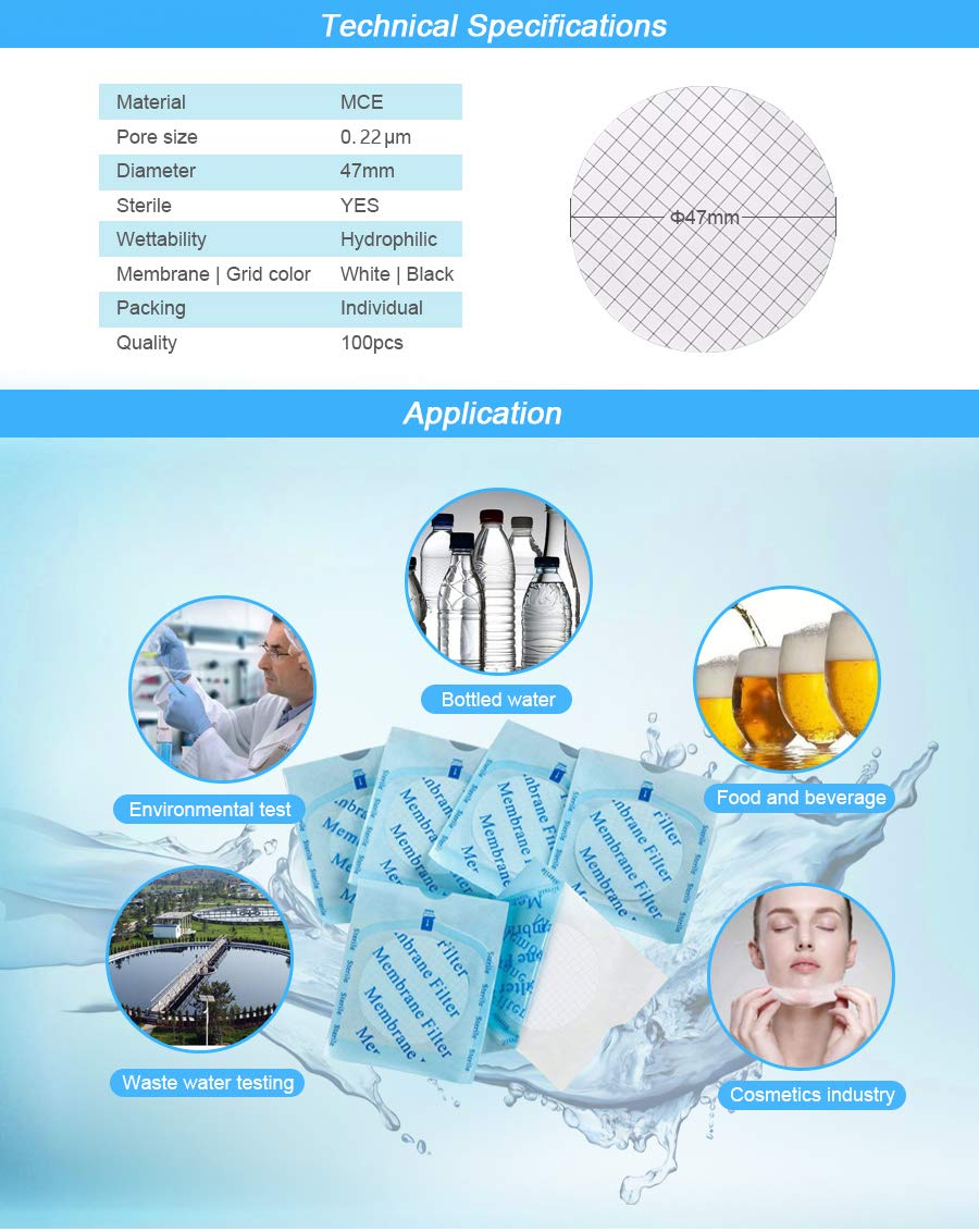 Pore:0.22 micron,Pack of 100 MCE Membrane Filter Membrane Solutions Lab Supply Sterile MCE Gridded Membrane Filter Diameter:47mm