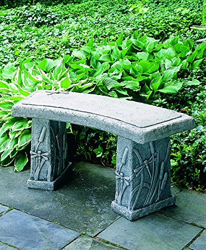 Dragonfly Bench - Campania International BE-24-AS Dragonfly Curved Bench, Alpine Stone Finish