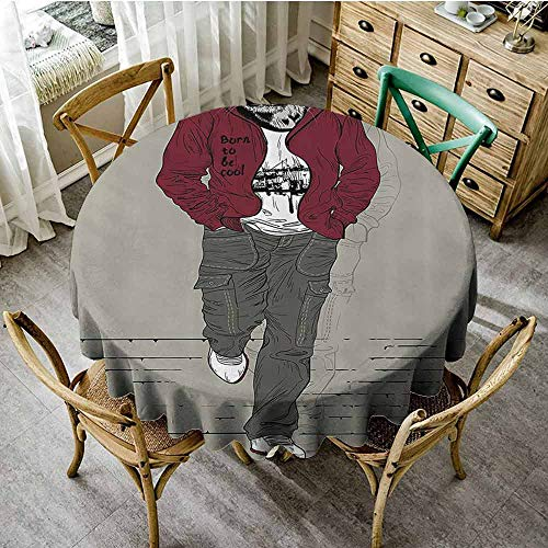 SEMZUXCVO Soft Round Tablecloth Modern Will not Fade Hipster Tiger in Sportswear Taking a Walk Adaptation to Urban City Theme D55 Ruby Sage Green Black