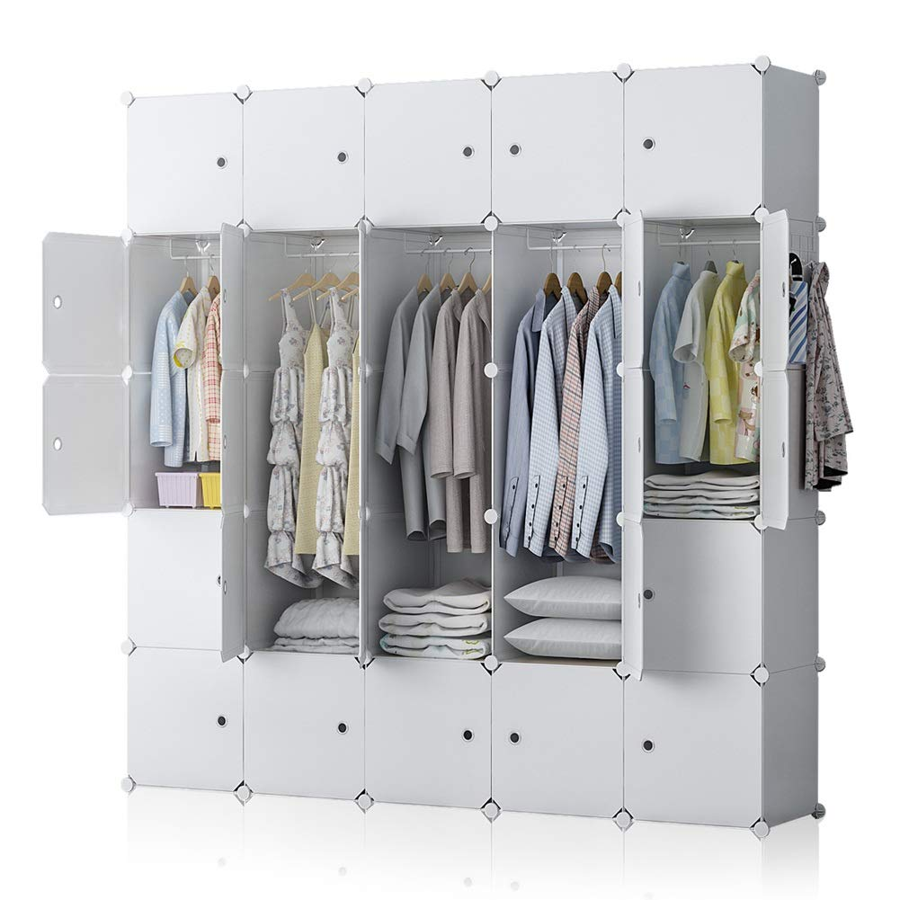 YOZO Modular Wardrobe Plastic Portable Closet Organization Customizable Cube Storage Organizer Bedroom Armoire Dresser, 25 Cubes, Depth 18 inches, White
