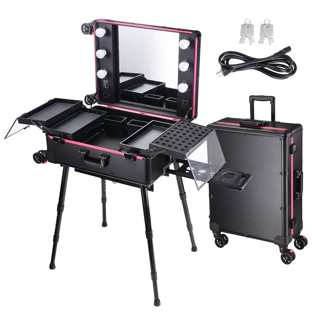 AW Rolling Makeup Case 27x18x9'' with LED Light Mirror Adjustable Legs Detachable Wheel Train Studio Artist Cosmetic by AW