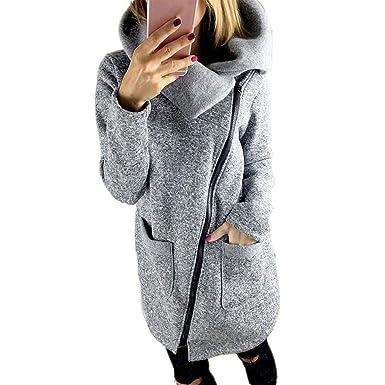 Redshop Women Casual Zip up Long Sleeve Hoodies Tunic Sweatshirt Long Asymmetric Hoodie Coat