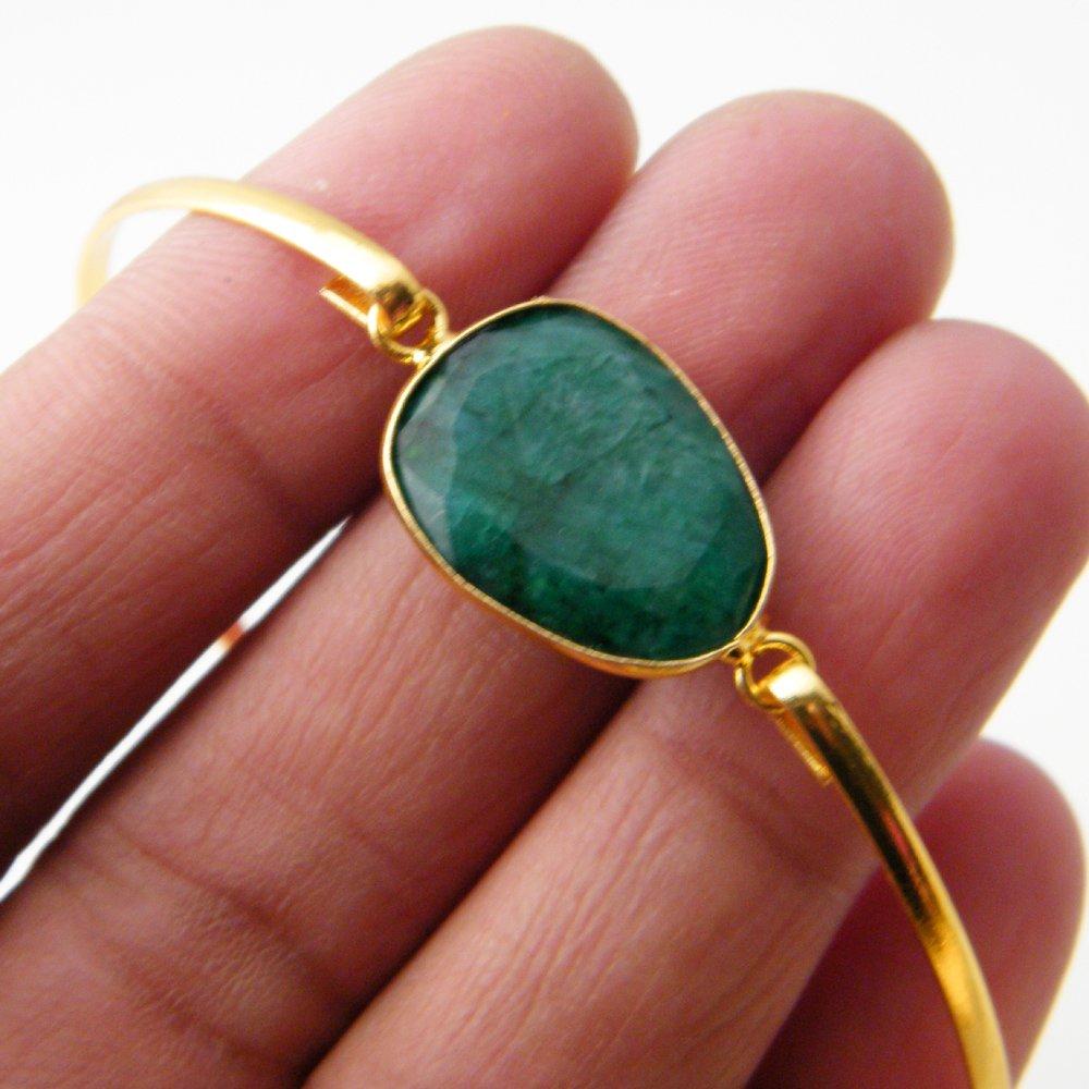 Gold Tone Jewelry Green Emerald Beryl Bracelet Gemstone Bracelet Jewelry Bronze Bracelet AH-8219