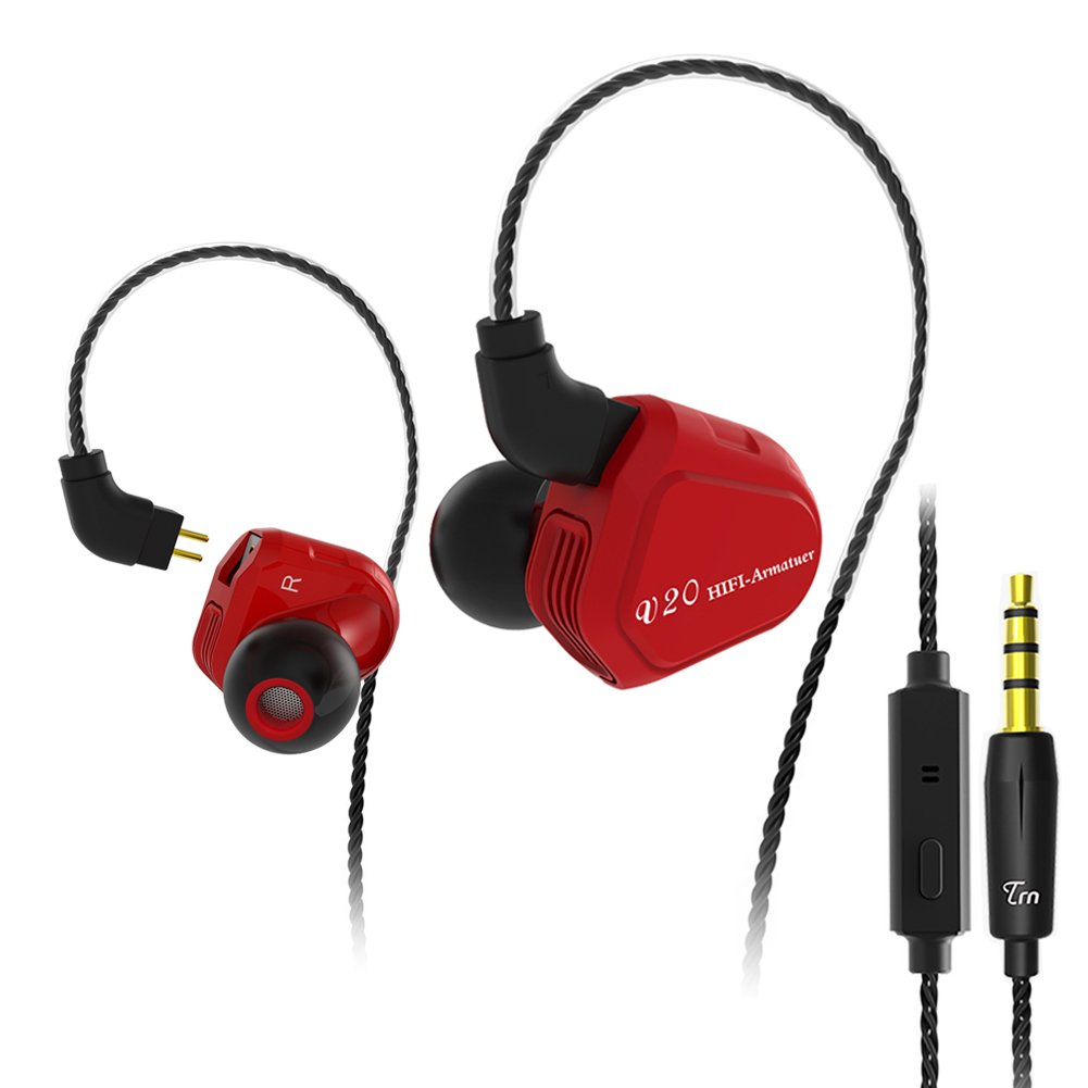 In-ear Headphone Earphone, TRN V20 HIFI Stereo Noise-isolating Earbuds Hybrid 1DD+1BA Headset with 2 0.75mm Pin Detachable Cable Suit for MP3, Music Player(Red With Mic)