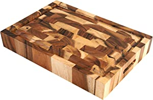 Villa Acacia Large Wood Cutting Board with Juice Groove, 2.5 Inch Thick, 17x12 Inch End Grain Block