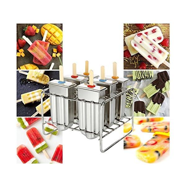 Stampo per ghiaccioli in acciaio INOX con base di supporto per bastone da freezer set di 6 7 spesavip