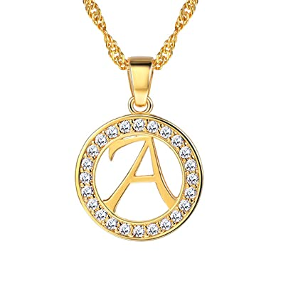 Suplight Initial Letter Necklace A to Z, 18K Gold/Platinum Plated Alphabet  Charm,Personalized Necklace