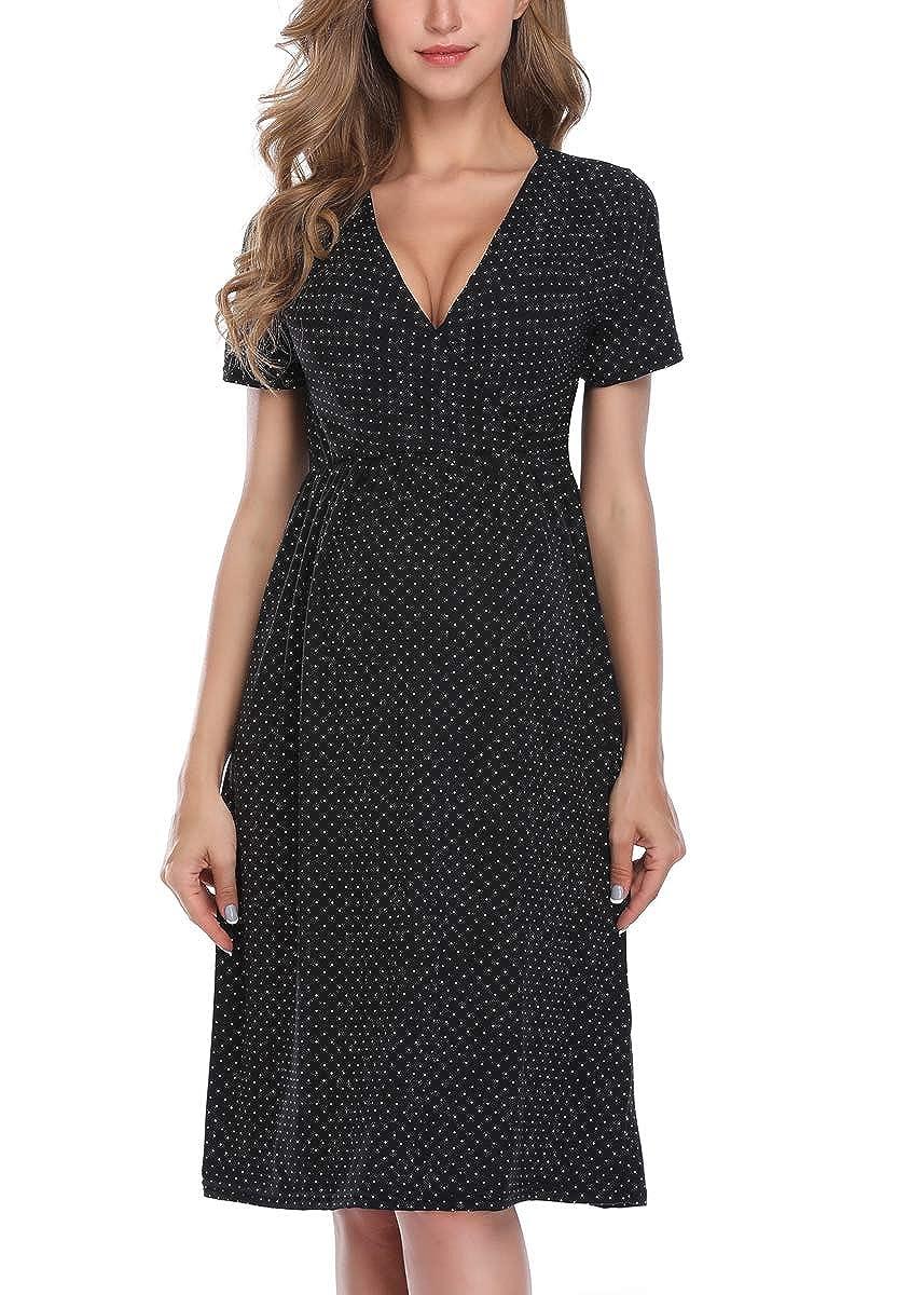 MissTalk Maternity Nursing Dress Womens Knee Length Dresses for Breastfeeding