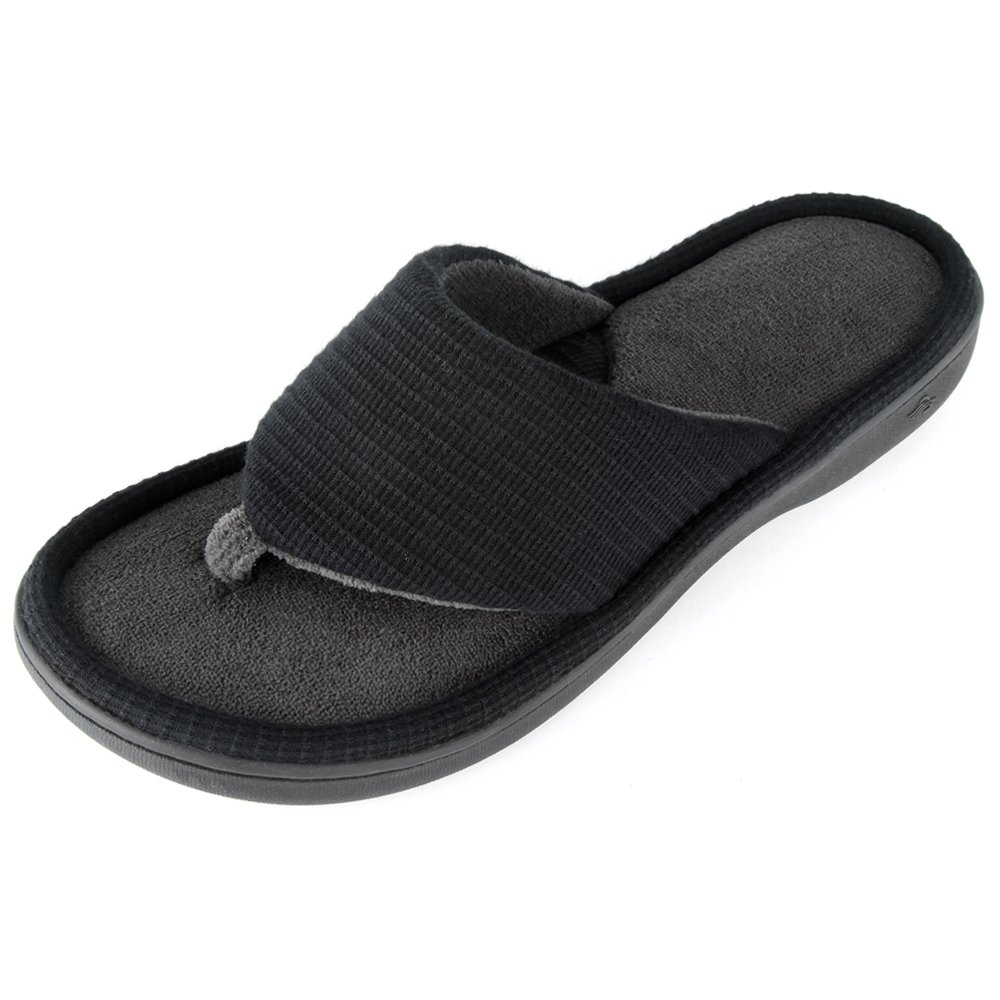 Wishcotton Men's Classic Memory Foam Spa Thong House Shoes Fluffy Flip Flop Slippers (M, Black) by Wishcotton