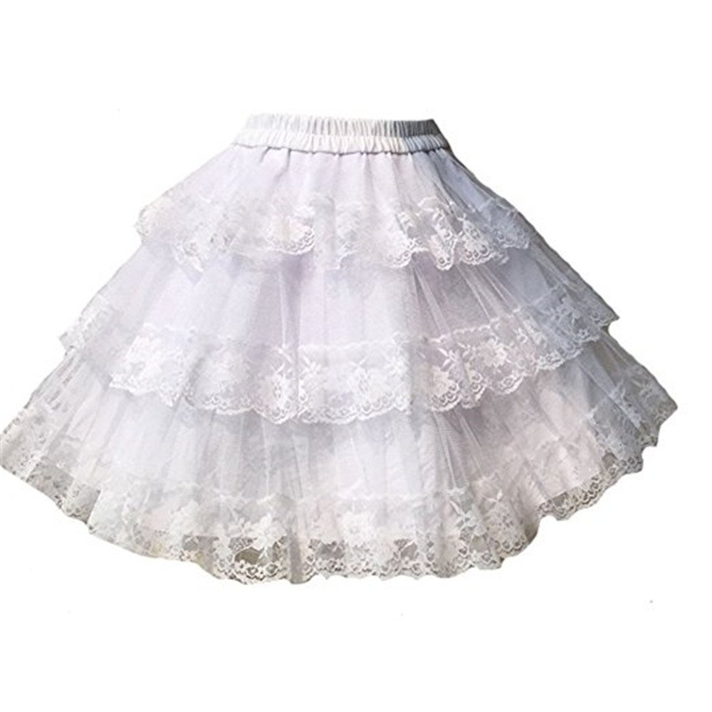 TanQiang Vintage Sweet White/Black Cosplay Skirt Three Layer Lace Gothic Lolita Petticoat Tutu Skirt (White)
