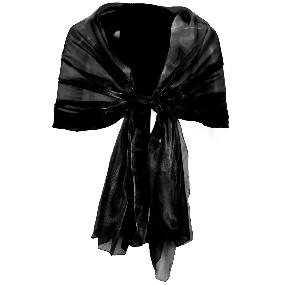 Surepromise Silky Wrap Stole Shawl For Weddings Bridal Bridesmaids Evenings Party (Black) at Amazon Womens Clothing store: