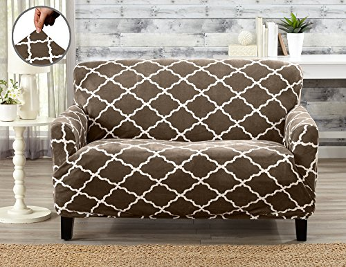 Modern Velvet Plush Strapless Slipcover. Form Fit Stretch, Stylish Furniture Shield / Protector. Magnolia Collection Strapless Slipcover by Great Bay Home Brand. (Loveseat, Walnut Brown)