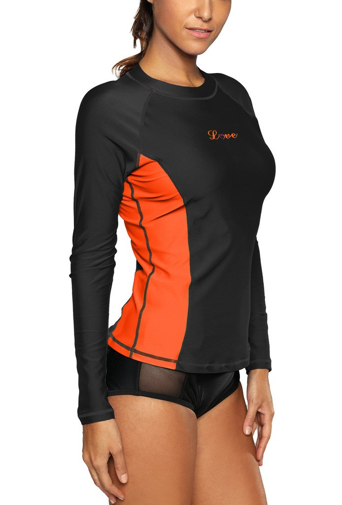 ALove Long Sleeve Rash Guard Top Women UV Shirt Athletic Top for Women Black Small by ALove (Image #4)