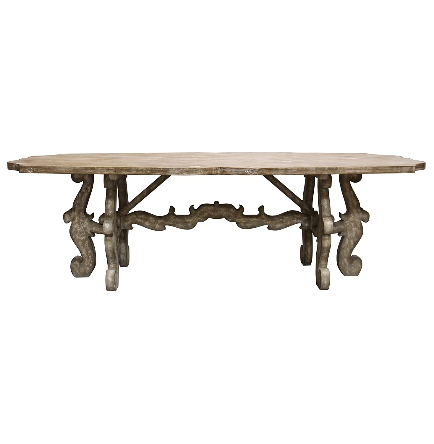 French Country Scroll Farmhouse Dining Table