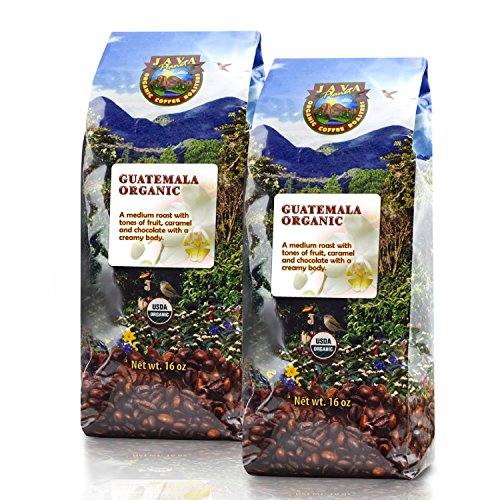 Java Planet - Guatemalan USDA Organic Coffee Beans, Medium Roast, Shade Grown, Bird Friendly, Rainforest Alliance, Arabica Gourmet Specialty Grade A - packaged in 2 1 LB bags