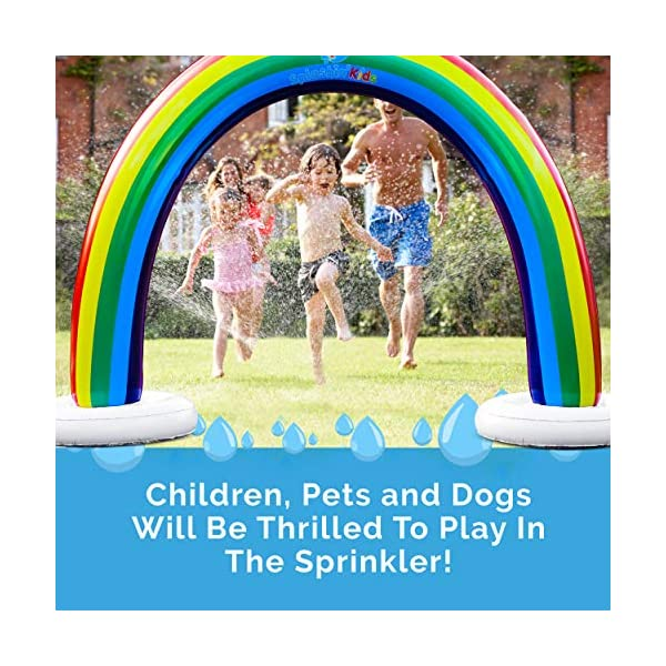 Splashin'kids Outdoor Rainbow Sprinkler Super Toddler Water Toys for Children Infants Boys Girls and Kids Perfect Outside Inflatable Water Park for Summer Fun Watch Video Slip and Slide Splash pad 3