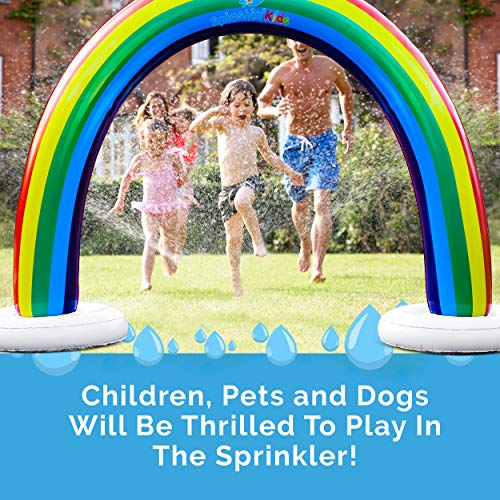 Splashin'kids Outdoor Rainbow Sprinkler Super Toddler Water Toys for Children Infants Boys Girls and Kids Perfect Outside Inflatable Water Park for Summer Fun Watch Video Slip and Slide Splash pad