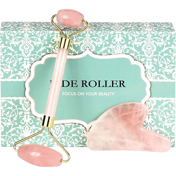 Jade Stone Roller Rose Quartz Face Thin Massage Roller Facial Beauty Therapy