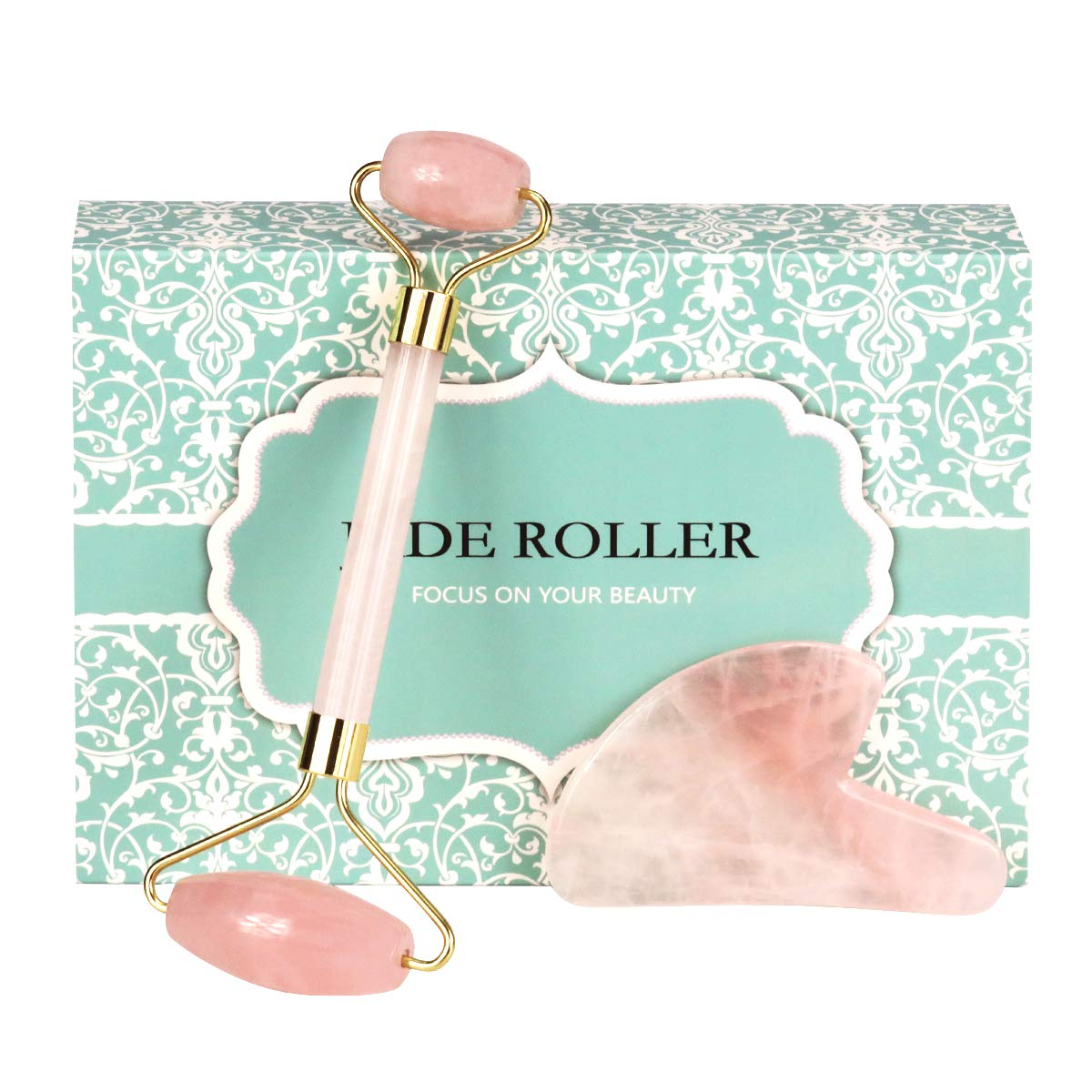 Jade Rose Quartz Roller for Face 2 in 1 Gua Sha Set Including Rose Quartz Roller and Jade Face Massager 100% Real Natural Jade Facial Roller Anti Aging Face Roller Massager by OMO by Rayfarmo