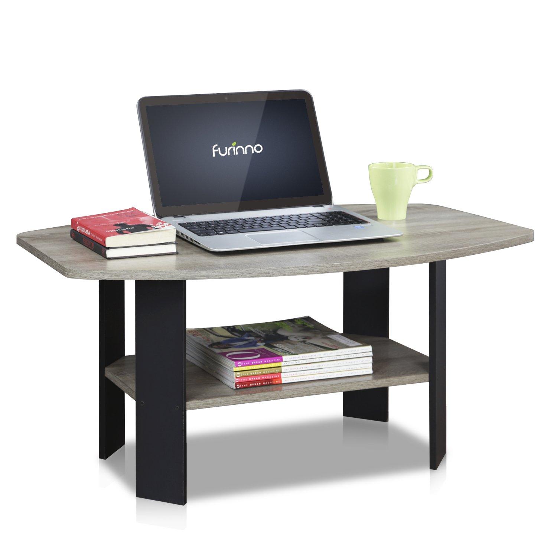 Amazon.com: FURINNO 11179GYW/BK Simple Design Coffee Table: Kitchen U0026 Dining