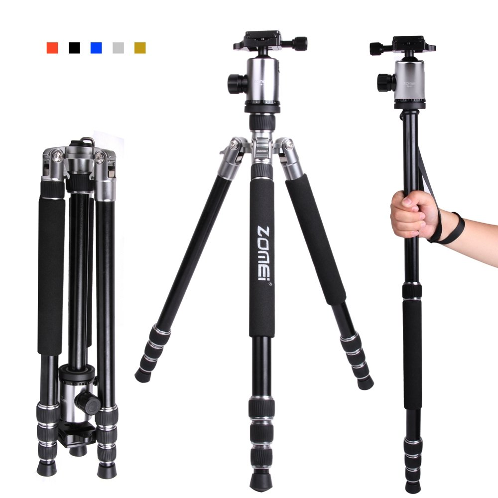 """Zomei Z818 65-inch Lightweight Camera Tripod, Aluminum Portable Detachable Monopod, 360 degree Ball Head, 1/4"""" Quick Release Plate with Carrying Bag for Canon Nikon Sony - 33lbs(15kg) Load (Silver)"""