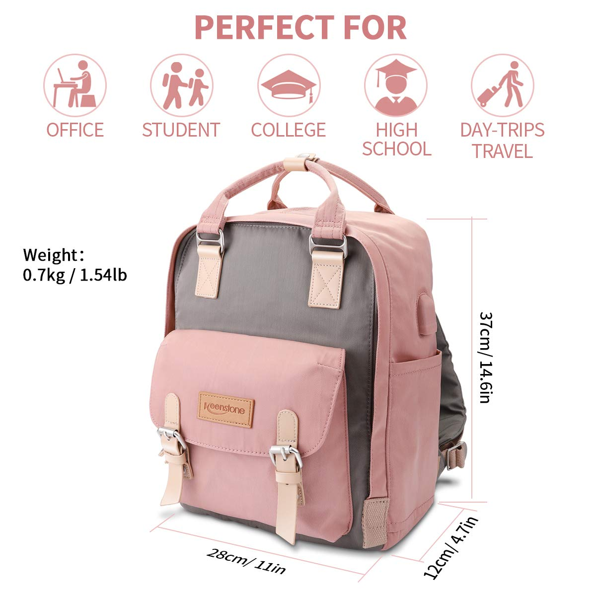 Casual Laptop Backpack with USB Charging Port,Wrinkle-Free Water Resistant Nylon College School Bookbag Vintage Travel Computer Backpack for Women,Fits Under 14\' Laptop for School, Work, Outdoor