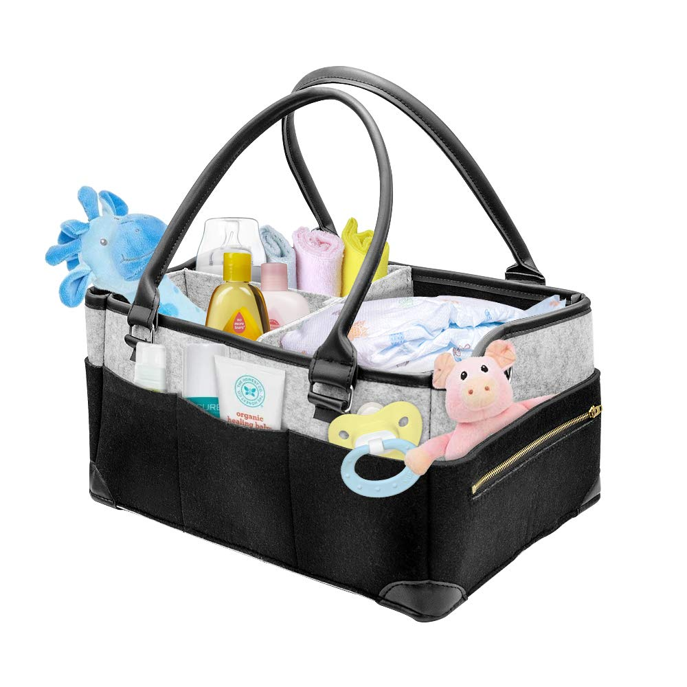 "Veroyi 2-in-1 Baby Diaper Caddy Organizer/Shower Gift Basket/Travel Nursery Tote Bag with 3.9ft Removable Shoulder Strap, 8 External Pockets and 1 Zipper Pouch (15x10x7"")"