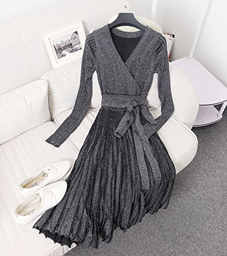 Dress Women Length Sweater Silver Line Vivimos Sleeve s Long Neck Slim Knee R A Black V zqwO57wa