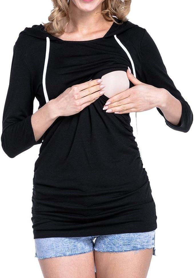 STRIR Camiseta de Lactancia Maternidad Lisos Camisa Mujer Blusa Breastfeeding Embarazadas Premamá Primavera otoño Tops: Amazon.es: Ropa y accesorios