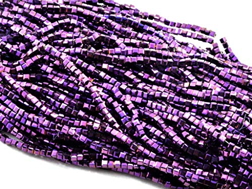 The Design Cart Purple Metallic Cube Shaped Crystal Bead (2 mm x 2 mm) 5 Strings for – Jewellery Making, Beading, Arts and Crafts and Embroidery. ()