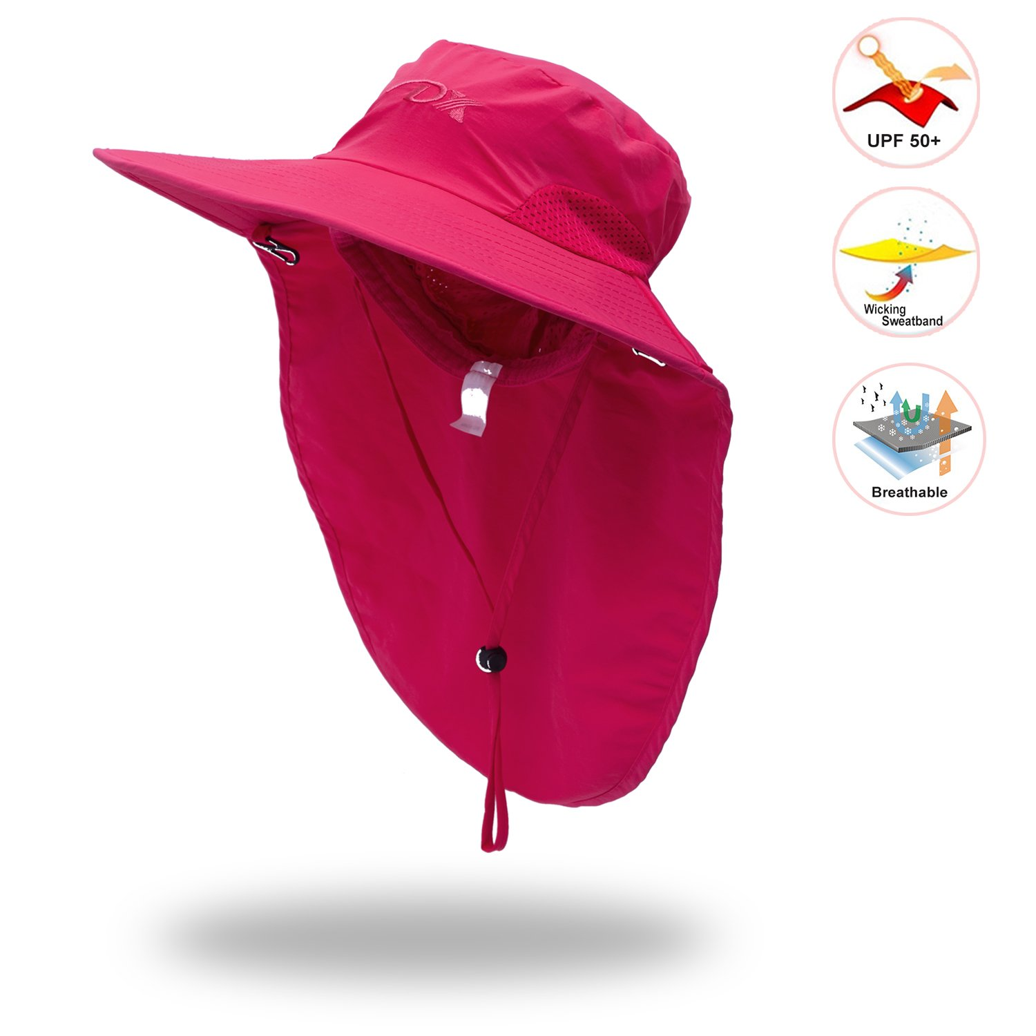 82c13d989f2 Amazon.com  Anleolife Rose Red Sun Hat for Women SPF UV Protection Travel  Biking Boating Hiking Beach Vacation Bucket Cap  Sports   Outdoors