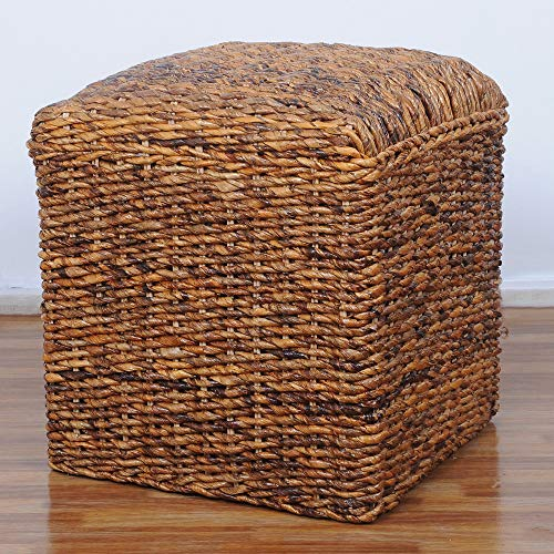 MISC Rattan Footstool Woven Wicker Rustic Decoratie Cube Wooden Storage Furniture Ottoman Stool Foot Table Natural Wood Cushioned Footstools