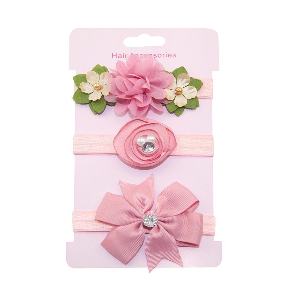 Haarnadel, erthome 3Pcs Kinder Blumen Stirnband Mädchen Baby Bowknot Hairband Set Haar Clips