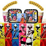 Power Rangers Ninja Steel Party Supplies Pack for 16 Guests: Stickers, Dessert Plates, Beverage Napkins, Cups, and Table Cover