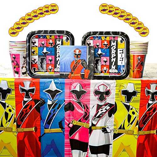 Power Rangers Ninja Steel Party Supplies Pack for 16 Guests: Stickers, Dessert Plates, Beverage Napkins, Cups, and Table Cover -