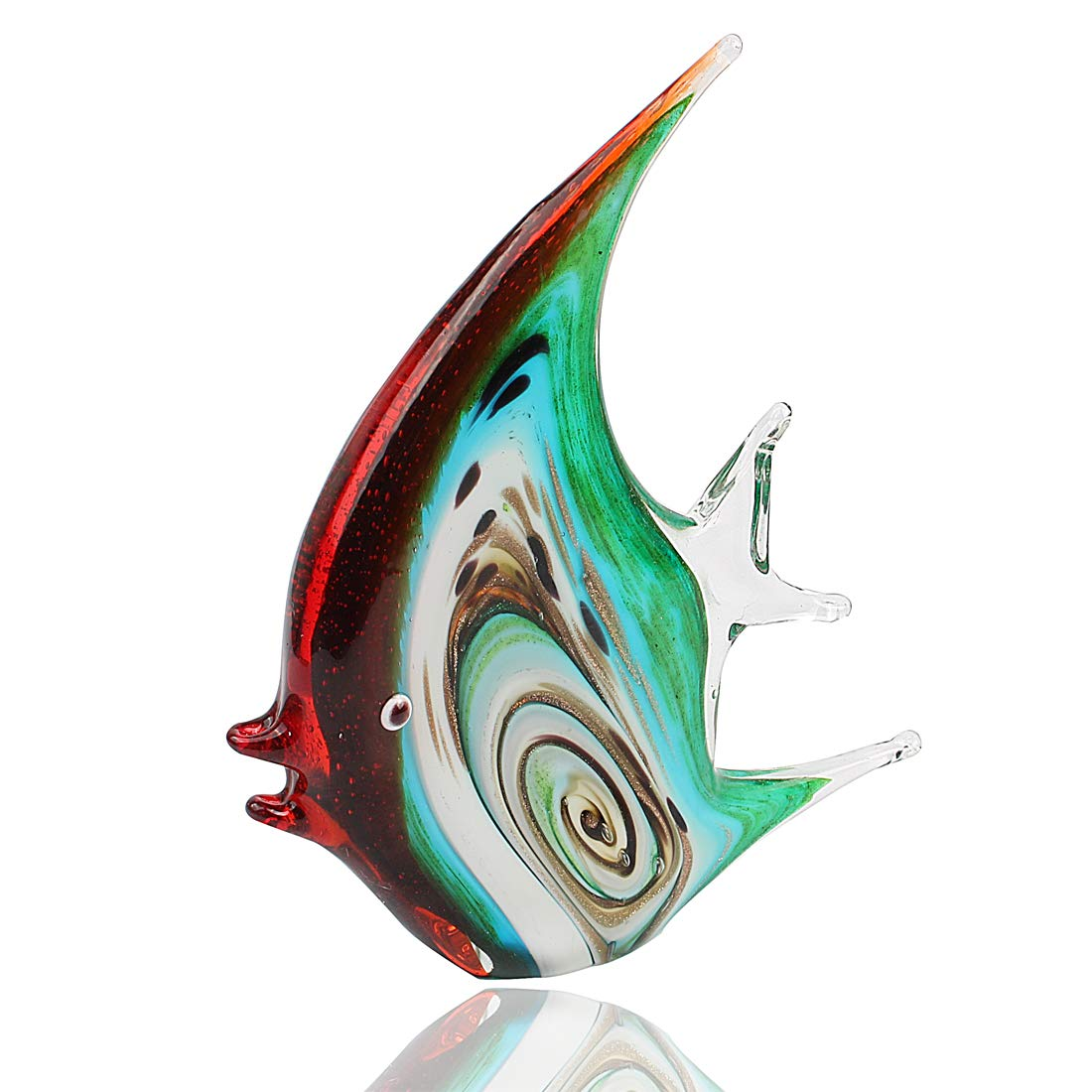 Hophen Tropical Angel Fish Art Glass Blown Handmade Sea Animal Figurine Sculpture Home Decor Collectible Statue Paper Weight Gift Ornament Big 2