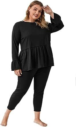 WDIRARA Women's Plus Size Sleepwear Ruffle Hem Tee with Pants Pajama Set
