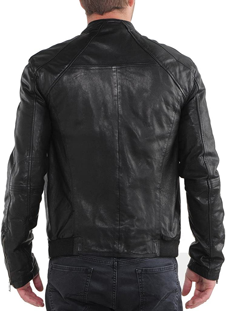 Stylish Men Biker Motorcycle Zipper Slim Fit Leather Casual Jacket KL202