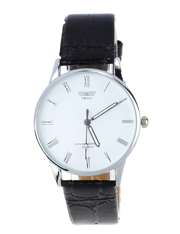 Poto 2017新しい防水クラシックメンズローマ数クオーツ電子レザー腕時計ファッションギフト ホワイト B06ZY94GG7ホワイト