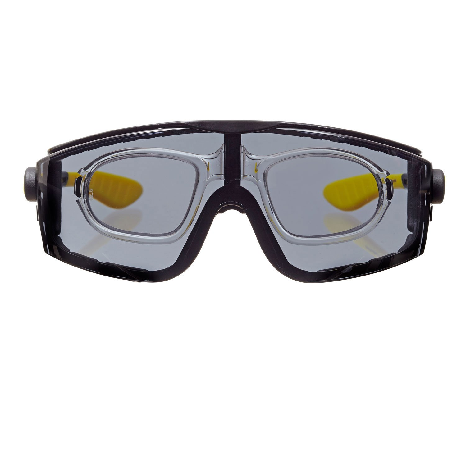 voltX 'QUAD' 4 in 1, FULL LENS Reading insert Safety Glasses (+2.0 Dioptre, YELLOW LENS), with foam insert, removable headstrap, CE EN166f certified