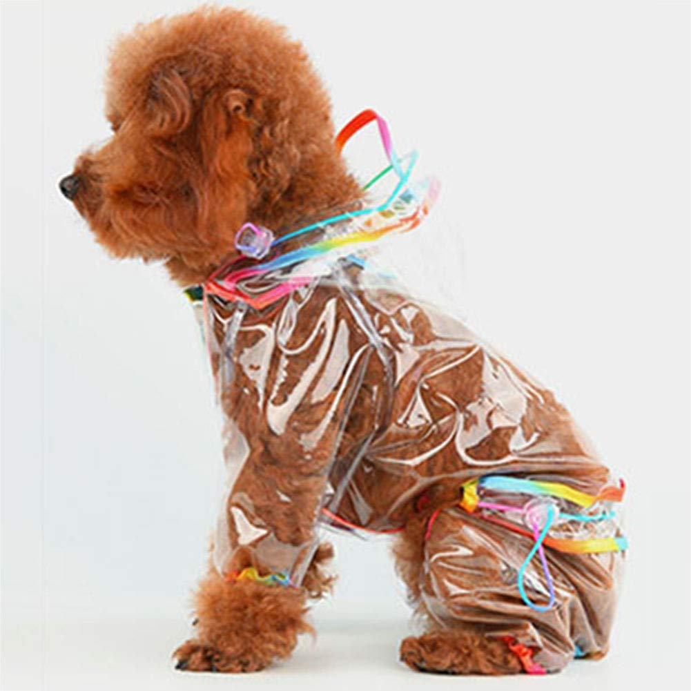 C Small C Small Hooded Waterproof Raincoat for Dog, Snap Closure, Waist Drawstring, Pet Fashion Summer Jacket