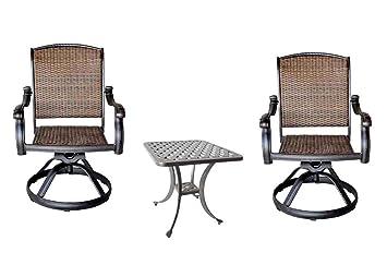 Awesome 3 Piece Bistro Set Cast Aluminum Patio Furniture Outdoor 2 Santa Clara  Swivel Rockeru0027s   Nassau