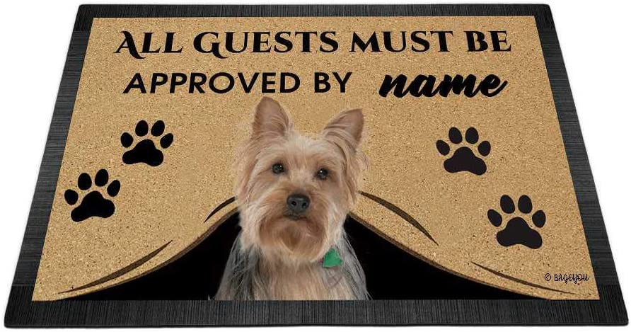 "BAGEYOU All Guests Must be Approved Outdoor Doormat with My Love Dog Yorkie Welcome Floor Mat Custom Name 27.5"" x 17.7"""