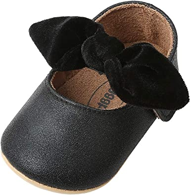 myppgg Baby Girls Mary Jane Flats Sparkly Bowknot Princess Dress Crib Shoes Non-Slip for Toddler First Walkers