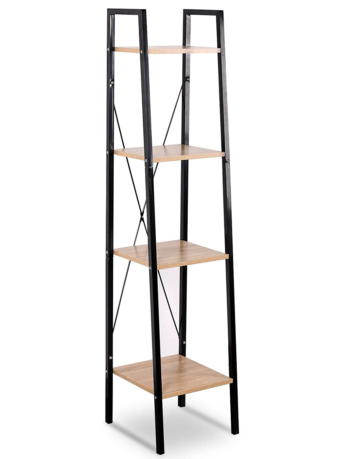 WOLTU Corner Shelf Unit Heavy Duty Wood with 4 Shelf Shelving, 4 Tiers Bookcase, Corner Bookcase Tall for Home Office Use