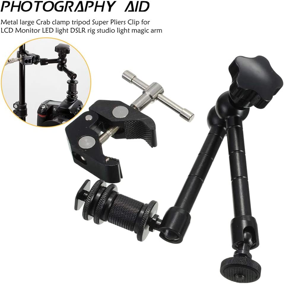 11inch Adjustable Friction Articulating Magic Arm//Super Clamp for DSLR LCD Monitor LED Light Camera Accessories